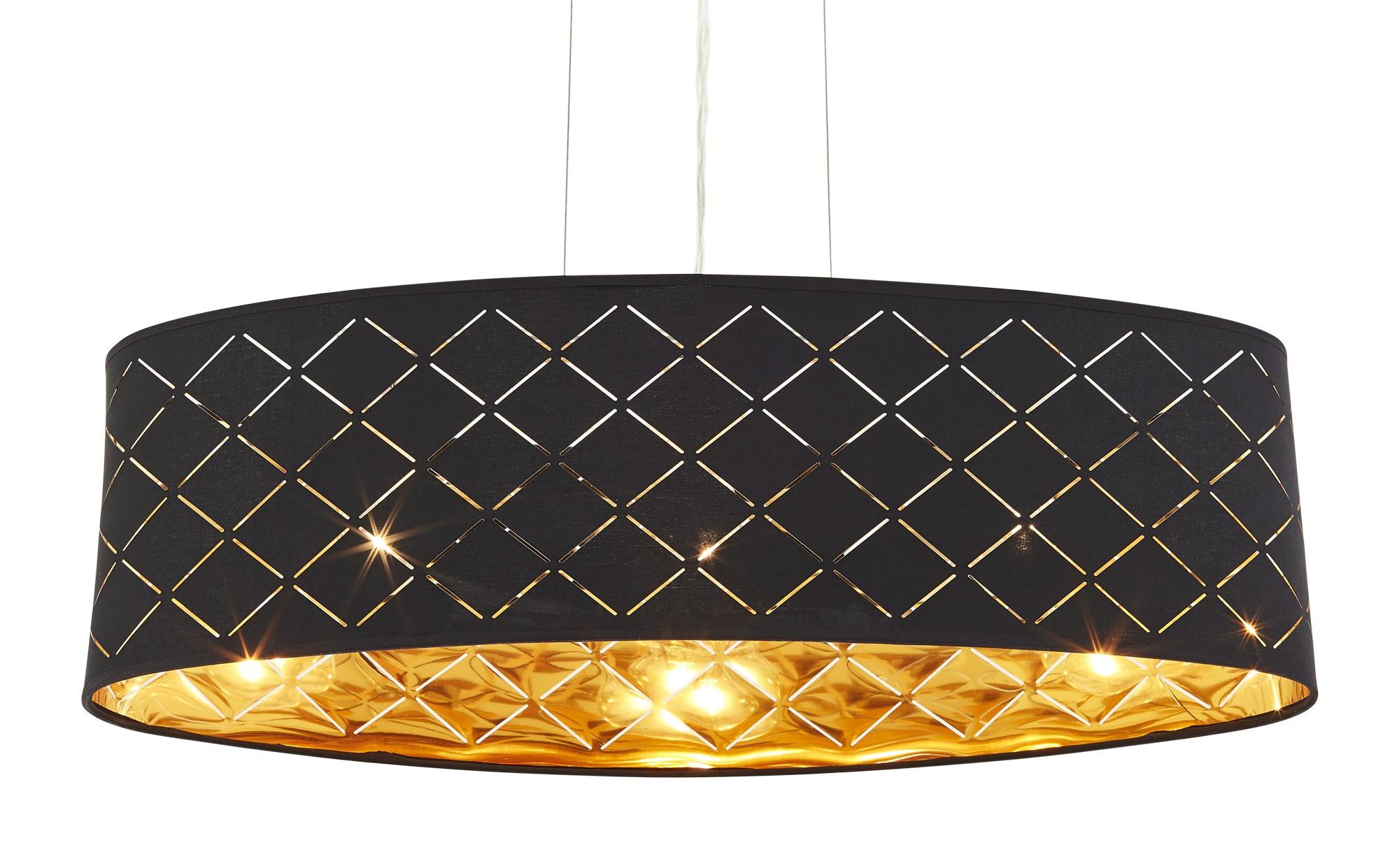 Stoffpendelleuchte, 3-flammig, Schirm schwarz/goldfarben ¦ silber Lampen & günstig online kaufen