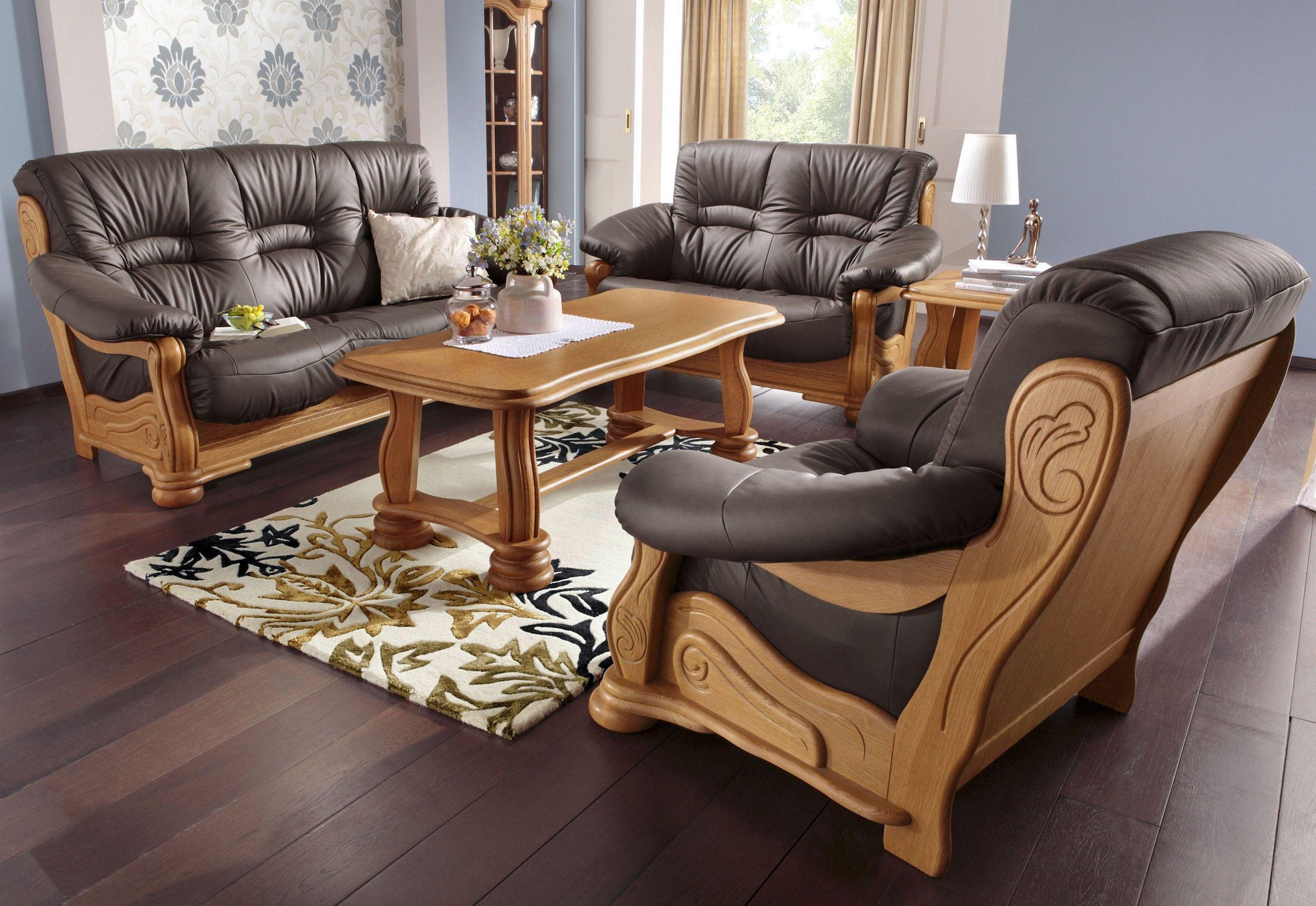Max Winzer Polstergarnitur Texas, mit dekorativem Holzgestell, 2-tlg. günstig online kaufen