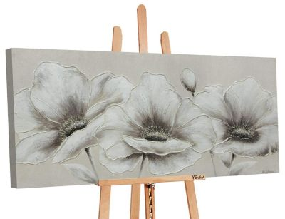 """YS-Art™ """"Gemälde Acryl """"""""Blumen II"""""""" handgemalt auf Leinwand"""" weiß Gr. 70 x günstig online kaufen"""