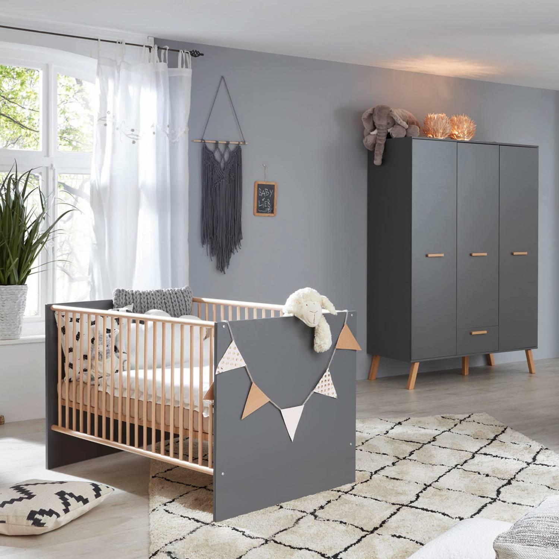 Babybett Kombination mit Schlupfsprossen MANISA-19 in Grau mit Absetzungen günstig online kaufen