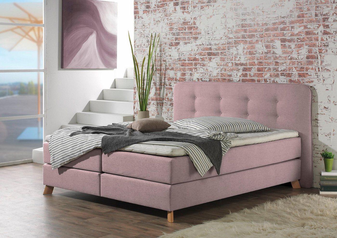 Boxspringbett »Cecina«, H2, Landhaus-Stil, rosa günstig online kaufen