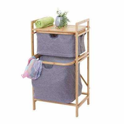 HWC Mendler Wäschesammler, Regal mit 2 Körben braun/grau günstig online kaufen