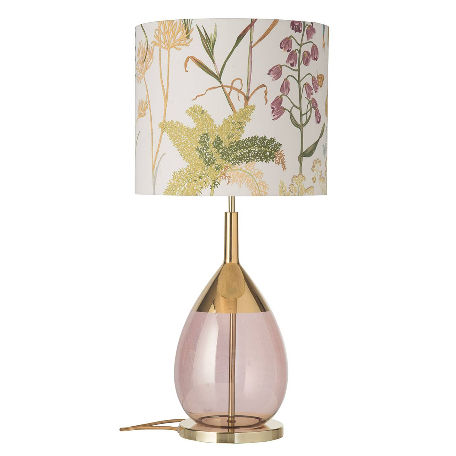 EBB & FLOW Lute Tischlampe mit Schirm Botanical günstig online kaufen