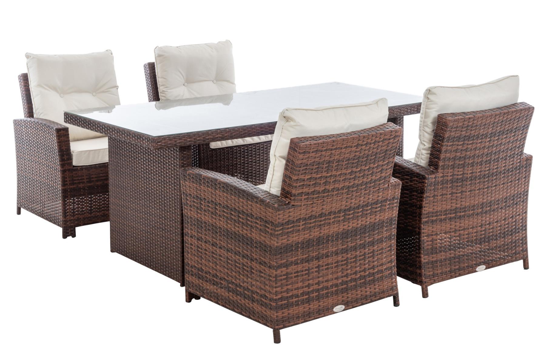 M# 4er Set Stuhl Fisolo mit Tisch Avignon 180-braun-meliert-cremeweiß günstig online kaufen