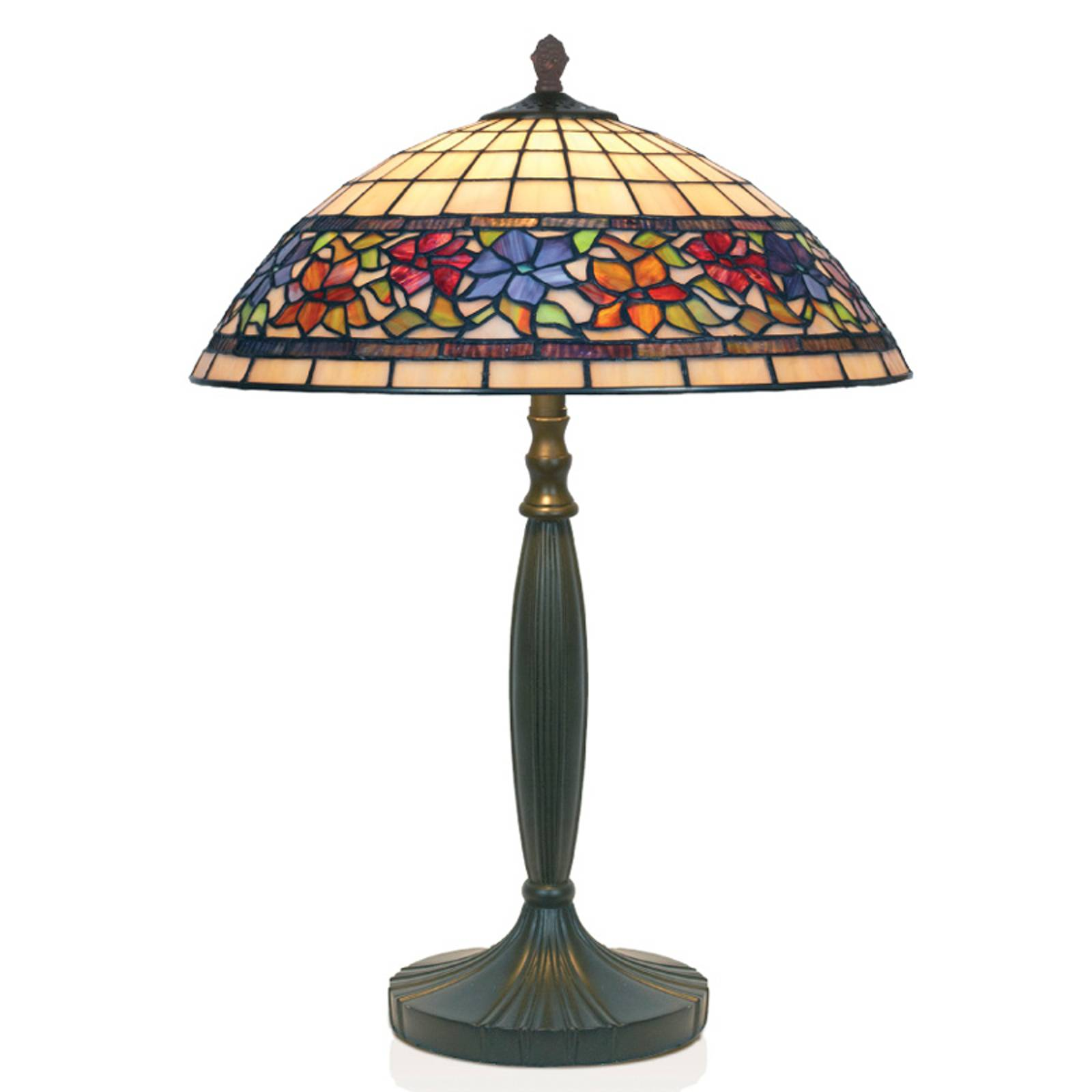 Tischlampe Flora im Tiffanystil, unten offen, 62cm günstig online kaufen