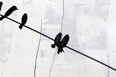 """YS-Art™ """"Gemälde Acryl """"""""Energie"""""""" handgemalt auf Leinwand 120x80 cm"""" weiß günstig online kaufen"""