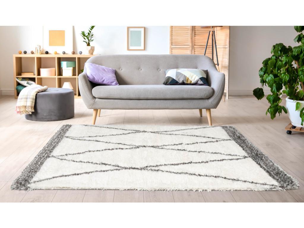 Hochflorteppich Berber-Stil HANIA - 120 x 170 cm - Beige & Grau günstig online kaufen