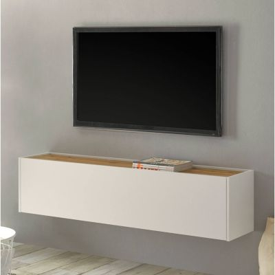 TV Hängeschrank Wohnbereich CRISP-61 in weiß mit Absetzungen in Wotan Eiche günstig online kaufen