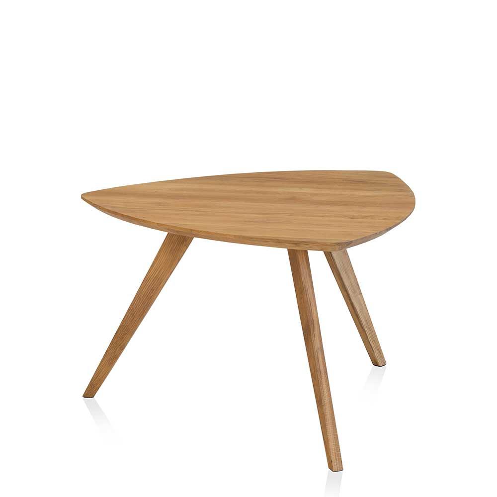 Massivholz Beistelltisch aus Wildeiche geölt Wankelform günstig online kaufen