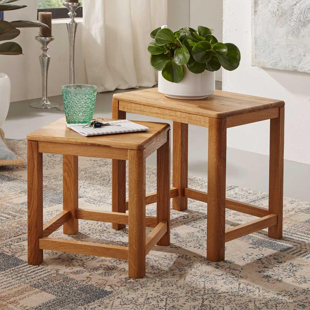 Tisch Set aus Wildeiche Massivholz geölt (zweiteilig) günstig online kaufen