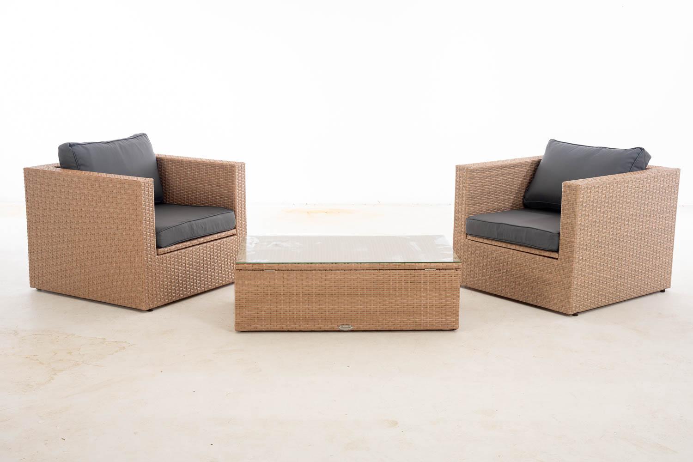 #Tibera + T: 2x Sessel + Tisch Tibera-sand-eisengrau günstig online kaufen
