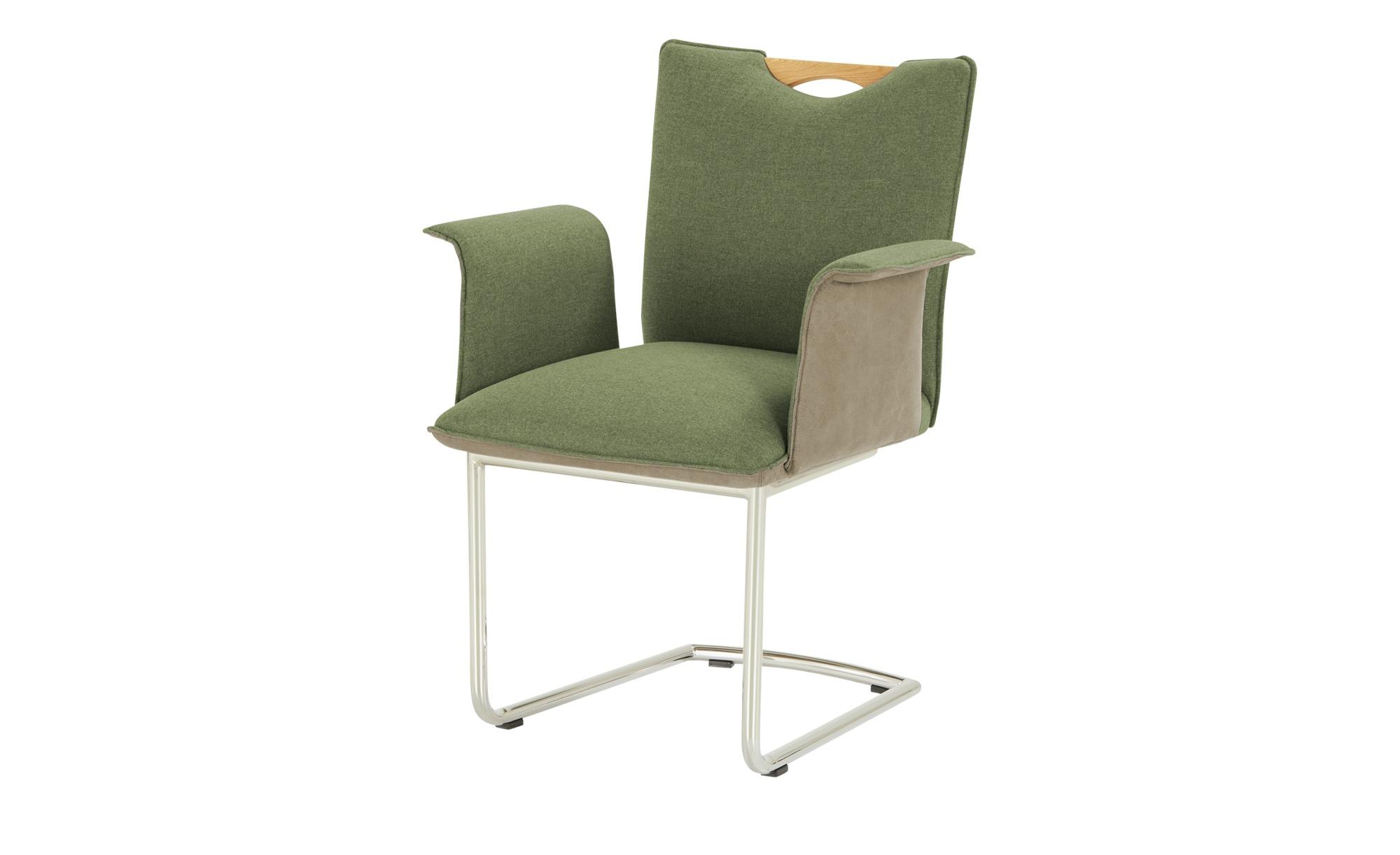 Wohnwert Polsterstuhl mit Armlehne  Scandio ¦ grün Stühle > Freischwinger - günstig online kaufen