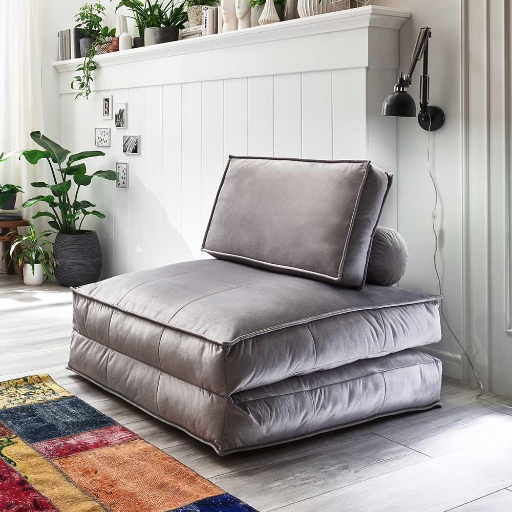 XL Faltsessel zum Schlafen Hellgrau Samtvelours günstig online kaufen