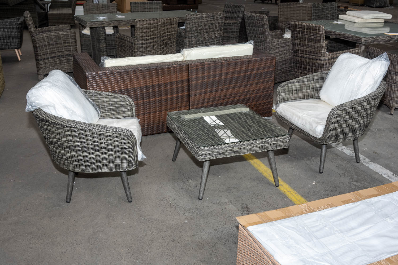 #HBM 2782: 2 x Sessel Ameland + Hocker Molde als Tisch-grau-meliert günstig online kaufen