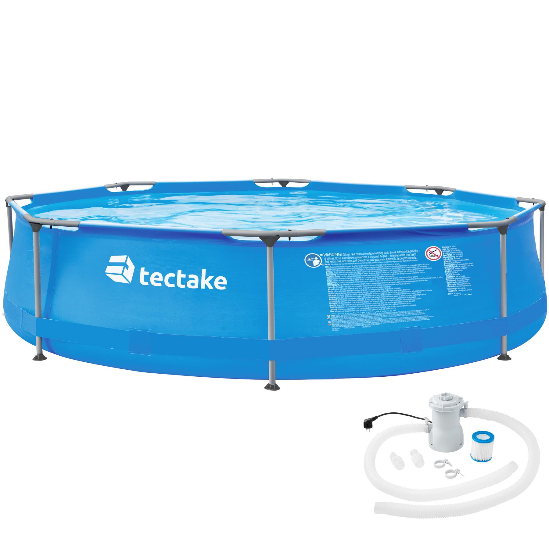 Swimming Pool rund mit Stahlrahmen und Filterpumpe - Ø 300 x 76 cm günstig online kaufen