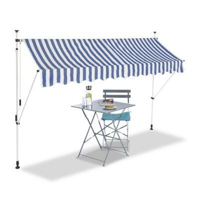 relaxdays Klemmmarkise blau weiß blau/weiß günstig online kaufen