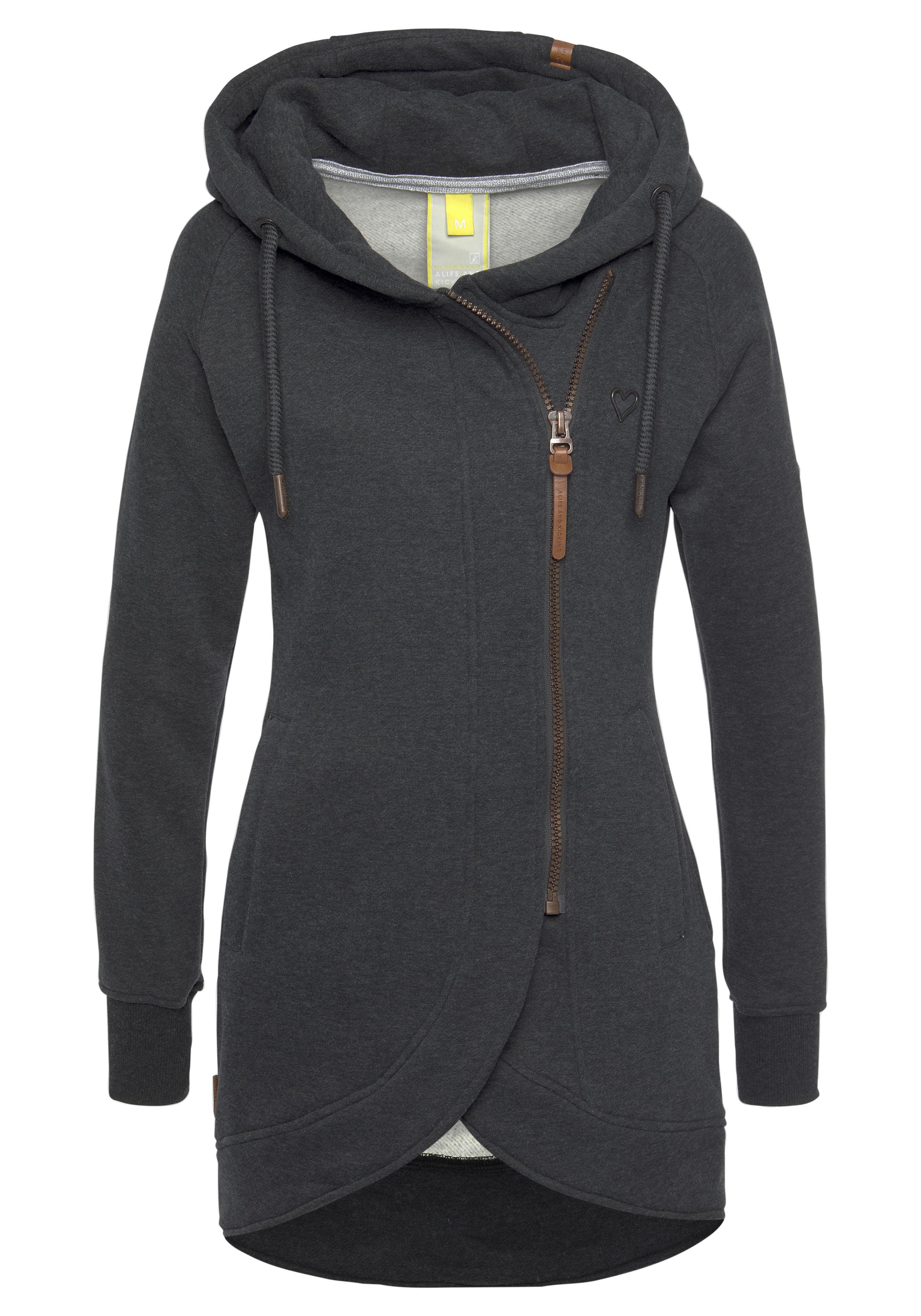 Alife & Kickin Sweatshirt MaryAK C, feminine Kapuzen-Sweatjacke mit versetz günstig online kaufen