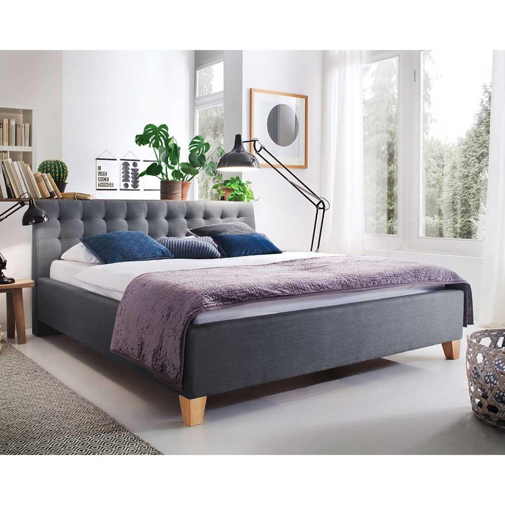 Polsterbett in Grau Webstoff 220 cm tief günstig online kaufen
