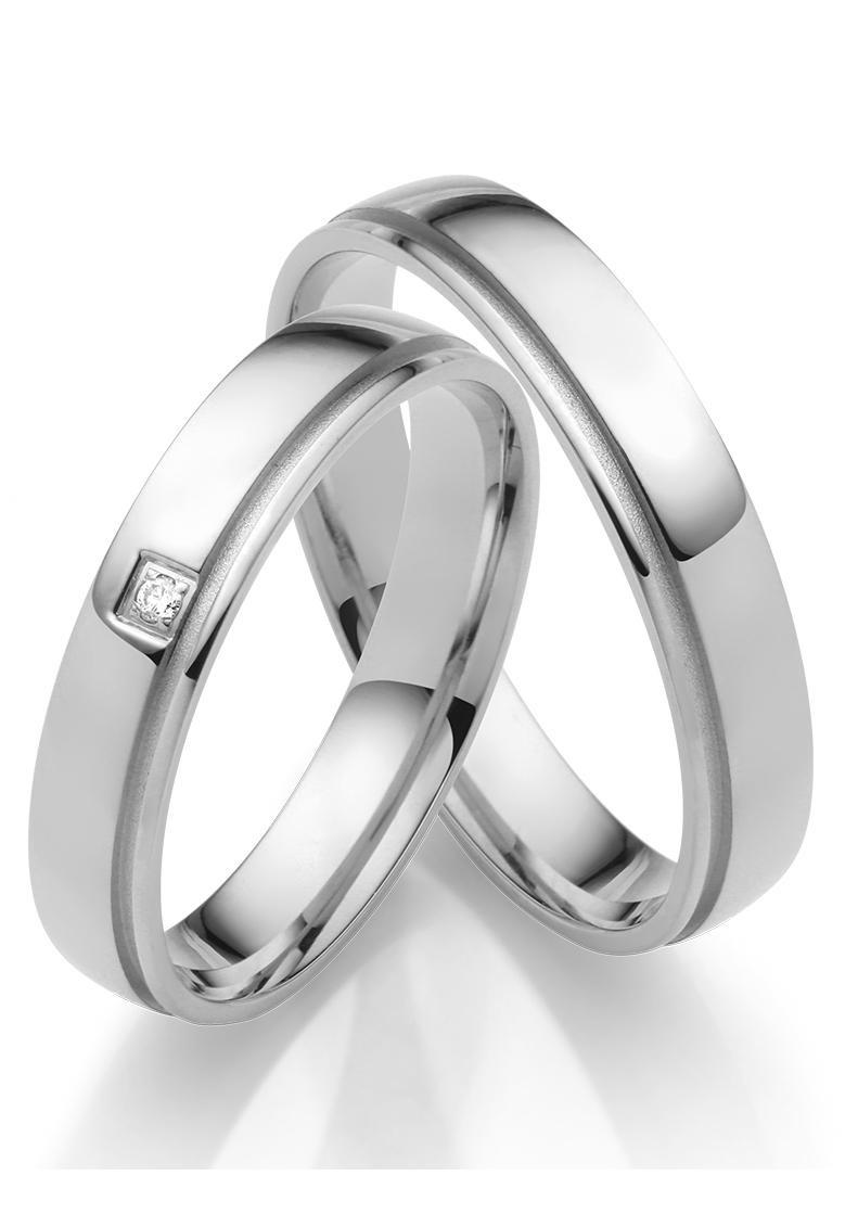 Firetti Trauring glanz, Vertiefung in sandmatt, Diamantschnitt, 4,0 mm brei günstig online kaufen