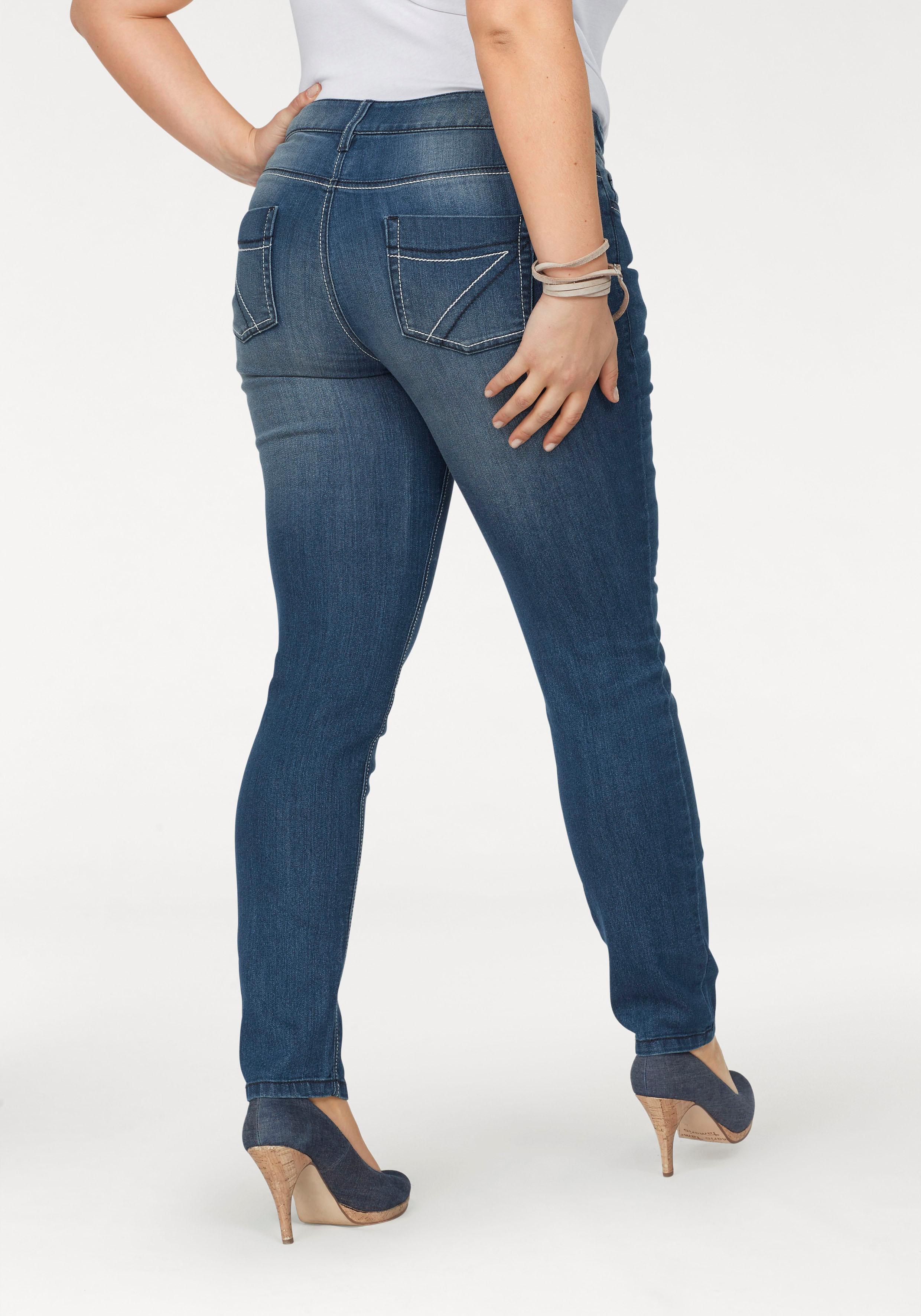 Arizona Slim-fit-Jeans mit Kontrastnähten, Mid Waist günstig online kaufen