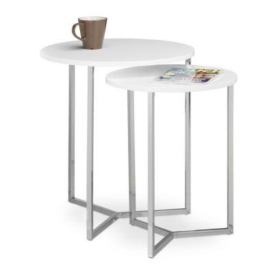 relaxdays Tisch 2er Set rund weiß günstig online kaufen