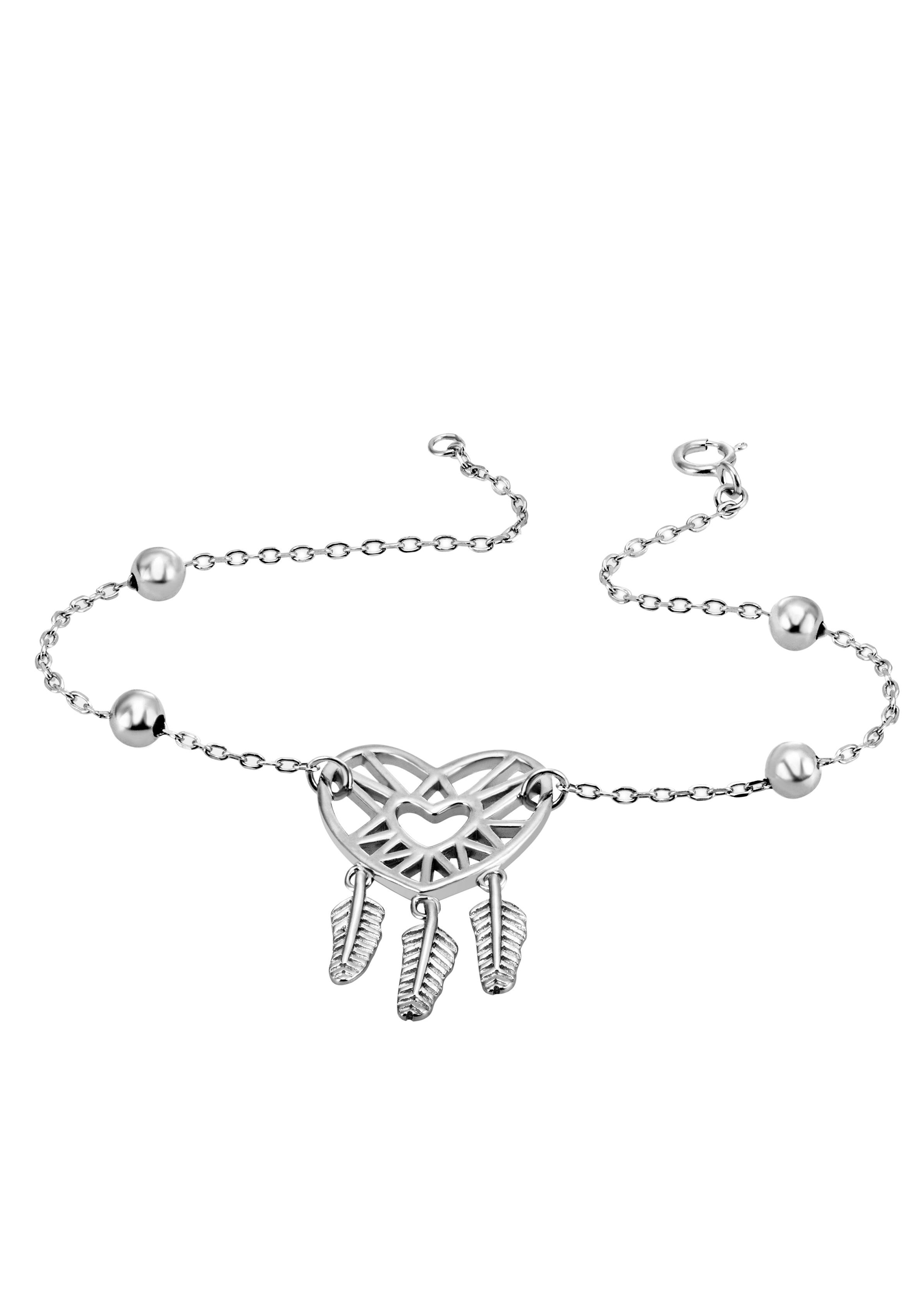 Firetti Armkette Herz mit Federn, rhodiniert, mit Zirkonia günstig online kaufen