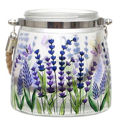 HTI-Living Glas Windlicht Lavendel 12 x 12 x 12 cm transparent günstig online kaufen