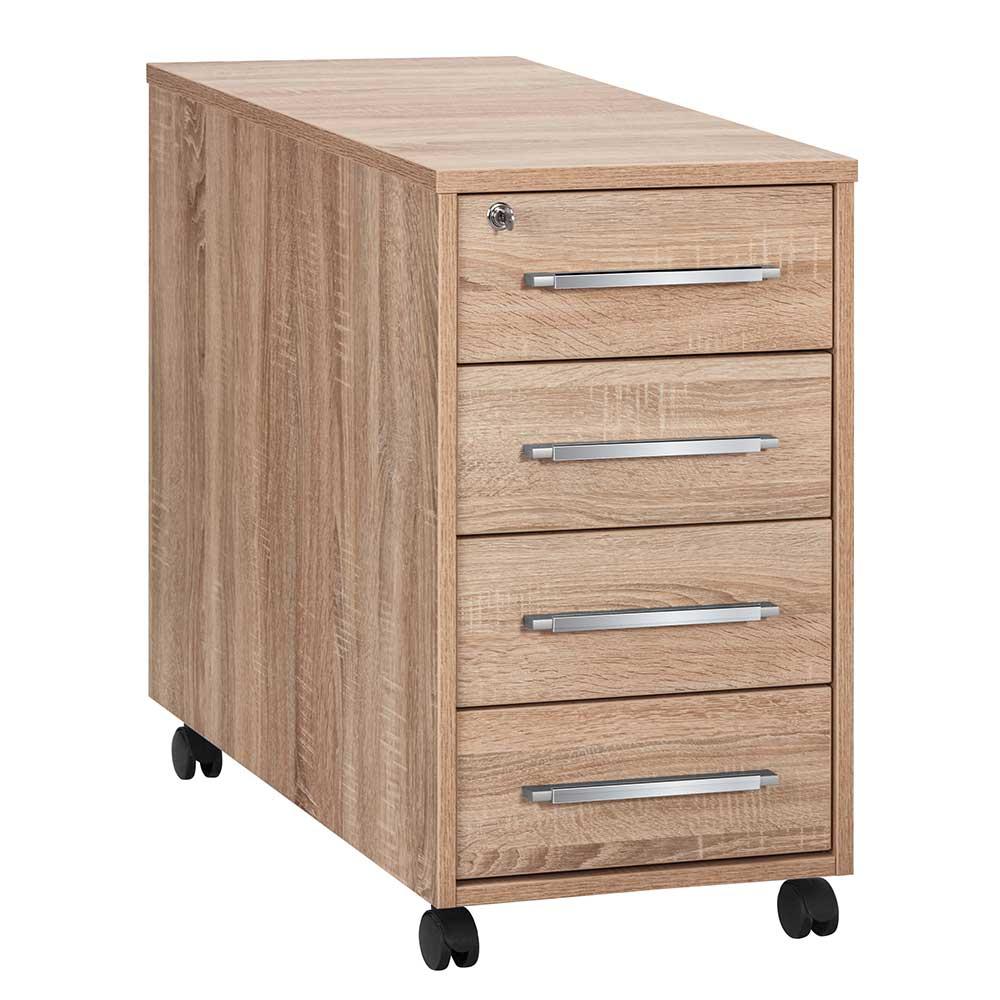 Rollbarer Schreibtisch Container in Sonoma Eiche abschließbar günstig online kaufen