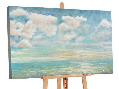 "YS-Art™ ""Gemälde Acryl """"Abkühlung"""" handgemalt auf Leinwand 120x80 cm"" bla günstig online kaufen"