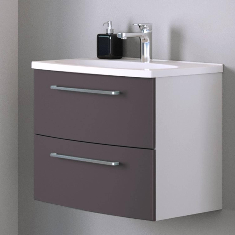 Waschtisch 60cm in Matt grau, weiß GLASGOW-03 mit 2 Softclose-Auszügen, B/H günstig online kaufen