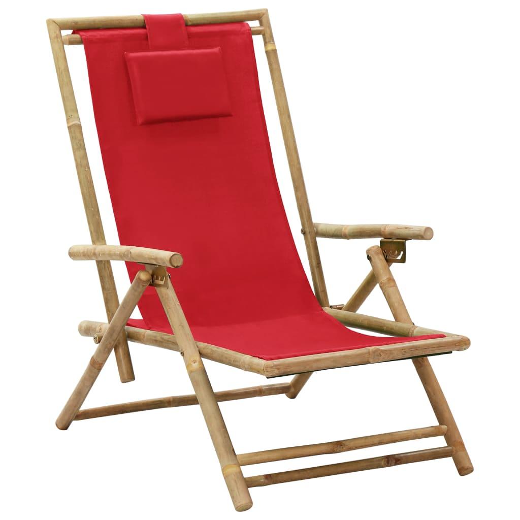 Verstellbarer Relaxstuhl Rot Bambus Und Stoff günstig online kaufen