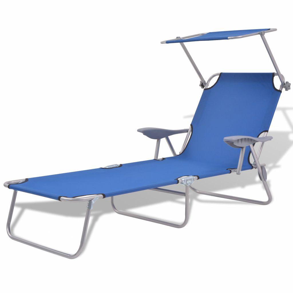 Sonnenliege Mit Sonnenschutz Stahl Blau günstig online kaufen