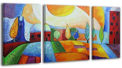 """YS-Art™ """"Gemälde Acryl """"""""Egerland City"""""""" handgemalt auf Leinwand 120x70 cm"""" günstig online kaufen"""