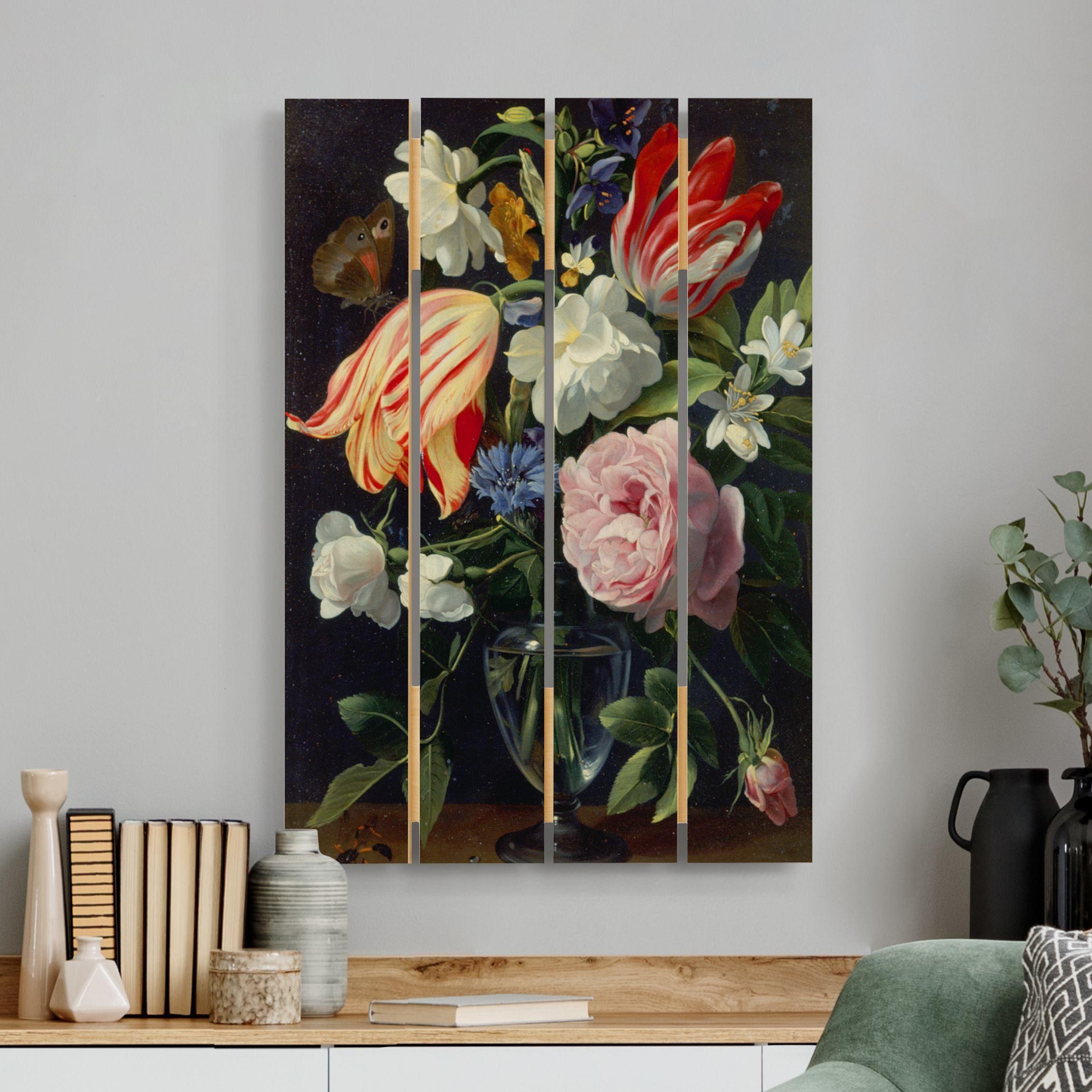 Holzbild Plankenoptik Blumen - Hochformat Daniel Seghers - Vase mit Blumen günstig online kaufen
