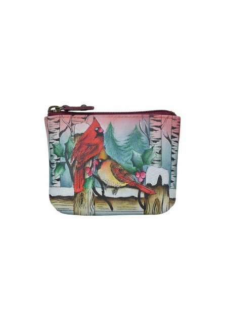 ANUSCHKA Mini Geldbörse »Snowy Cardinal (Handbemaltes Leder)«, Münzbeutel günstig online kaufen