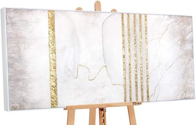 "YS-Art™ ""Gemälde Acryl """"Goldener Marmor"""" handgemalt auf Leinwand"" gold Gr günstig online kaufen"