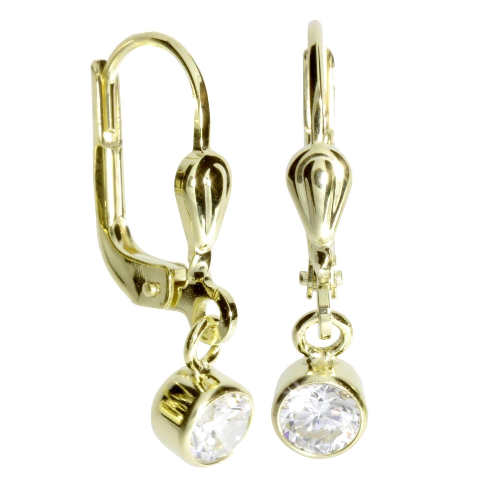 OSTSEE-SCHMUCK Paar Ohrhänger - Anna 4 mm - Gold 333/000 - Zirkonia, (2 tlg günstig online kaufen
