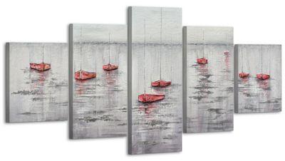 """YS-Art™ """"Gemälde Acryl """"""""Stiller Hafen II"""""""" handgemalt auf Leinwand 160x80 günstig online kaufen"""