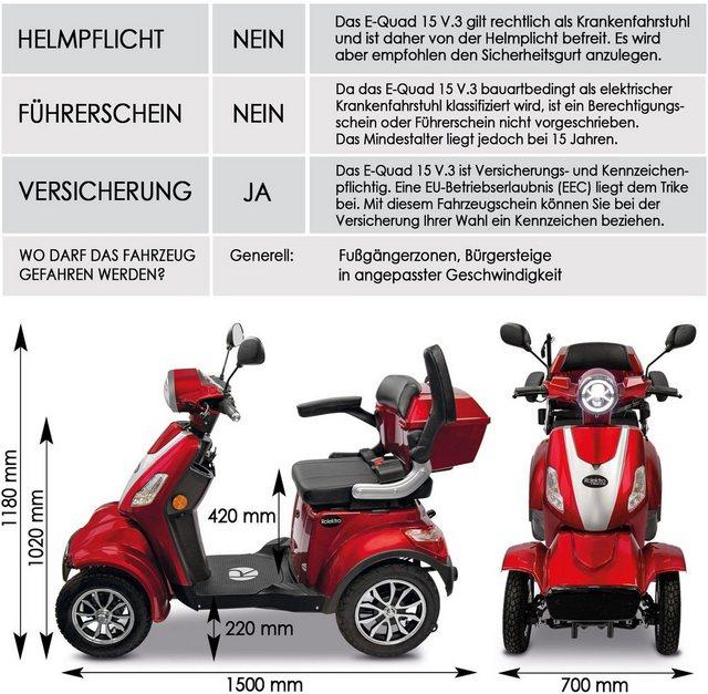 Rolektro Elektromobil »Rolektro E-Quad 15 V.3 Lithium«, 1000 W, 15 km/h, (m günstig online kaufen