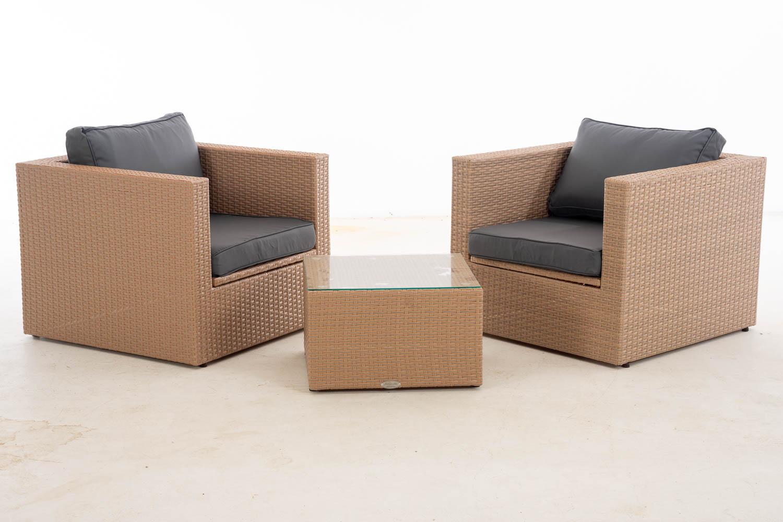 #Tibera + L: 2x Sessel Tibera + Tisch Liberi-sand-eisengrau günstig online kaufen