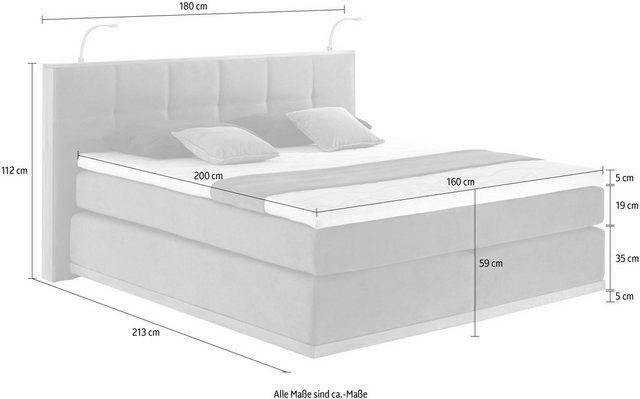 Places of Style Boxspringbett »Vinton« (5-St), aus massiver Eiche, mit LED- günstig online kaufen