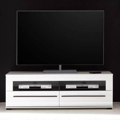 TV-Lowboard in Hochglanz weiß Hifi-Rack COLORADO-61 mit 2 Schüben BxHxT: 14 günstig online kaufen