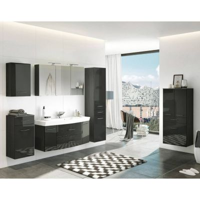 Komplett Badmöbel Set inkl. Highboard FLORIDO-03 in Hochglanz grau B x H x günstig online kaufen