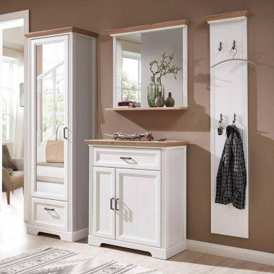 Landhaus Flur-Garderoben Set JÜLICH-36 in Pinie weiß mit Artisan Eiche, BxH günstig online kaufen