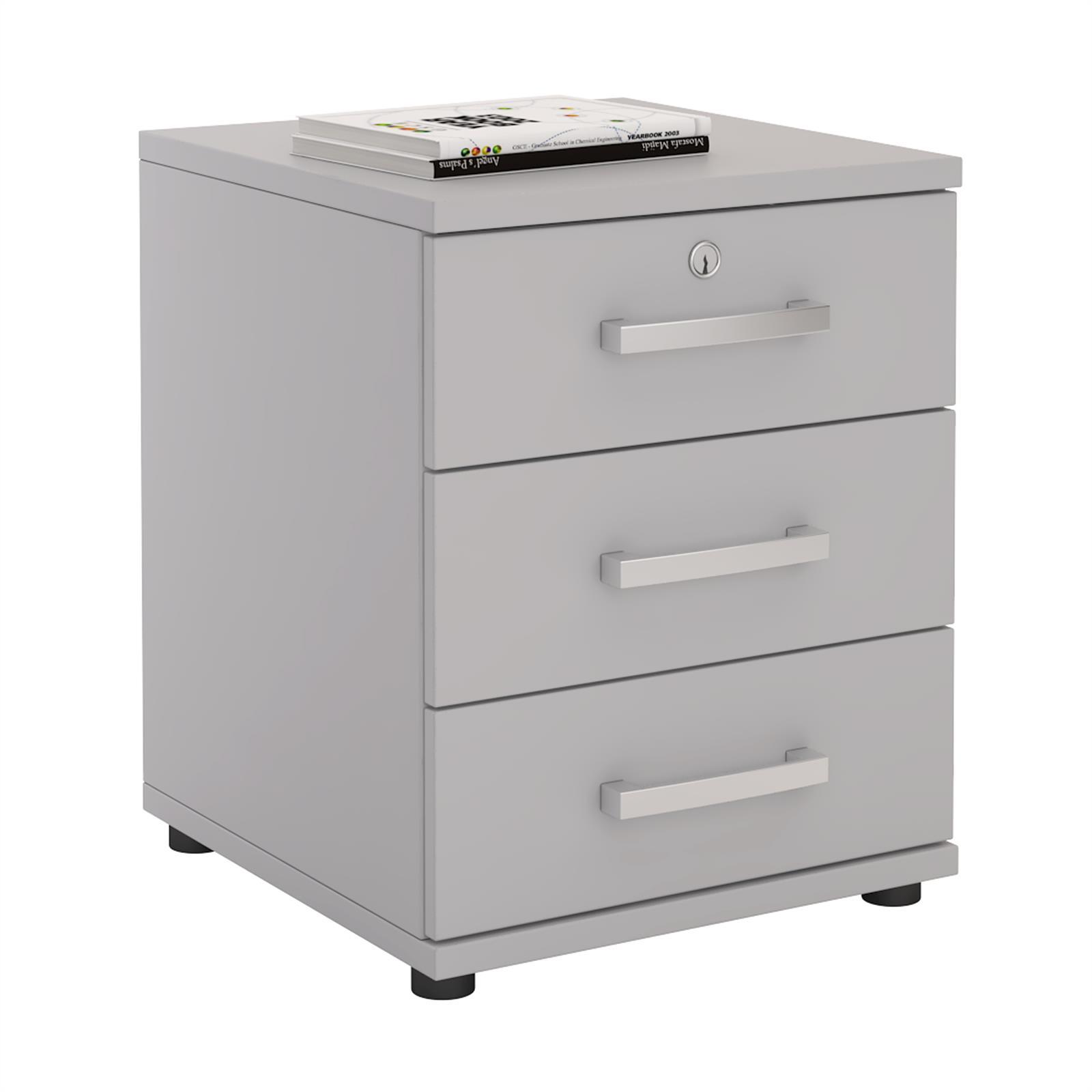 Bürocontainer TORONTO, 3 Schubladen in lichtgrau günstig online kaufen