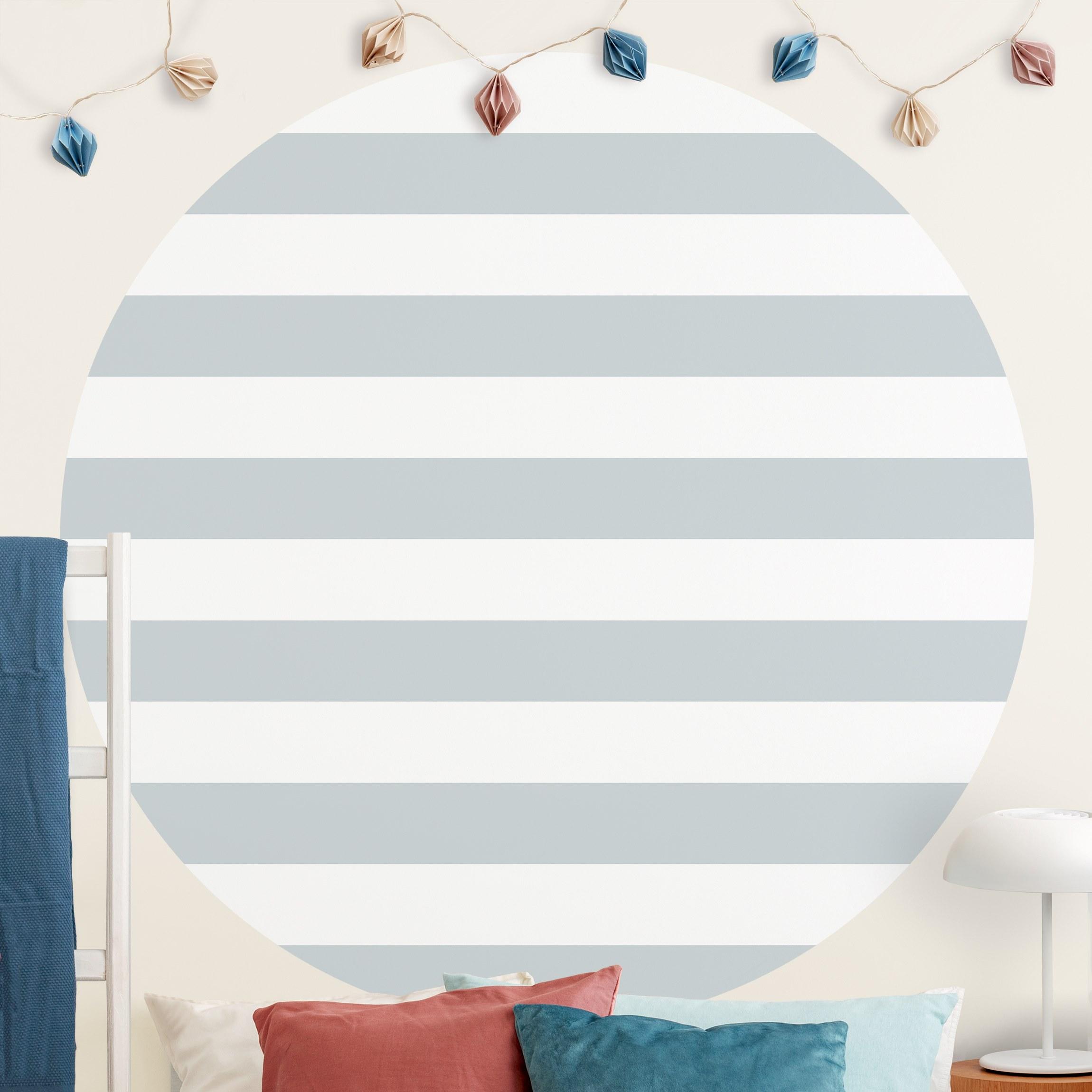 Runde Mustertapete selbstklebend No.YK53 Querstreifen Grau Weiß günstig online kaufen
