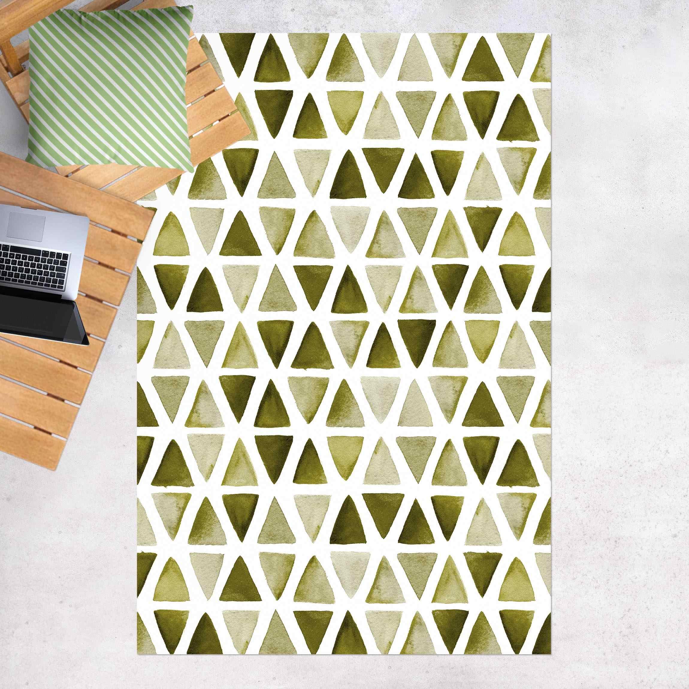 Vinyl-Teppich Olivgrüne Aquarelldreiecke günstig online kaufen