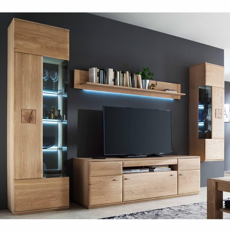 Wohnzimmer Wohnwand BADALONA-05 in Eiche Bianco massiv mit Baumhirn-Intarsi günstig online kaufen