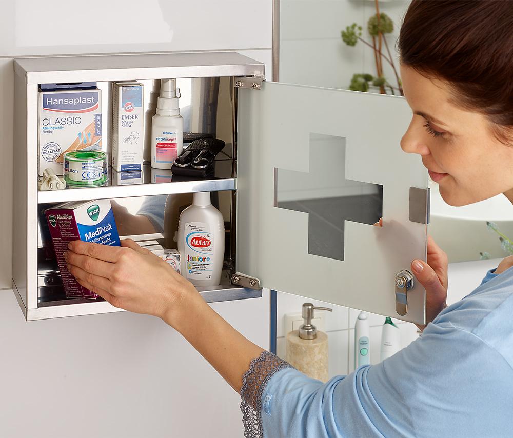 Deuba Medizin-/Arzneischrank Erste-Hilfe inkl. Schlüssel klein günstig online kaufen