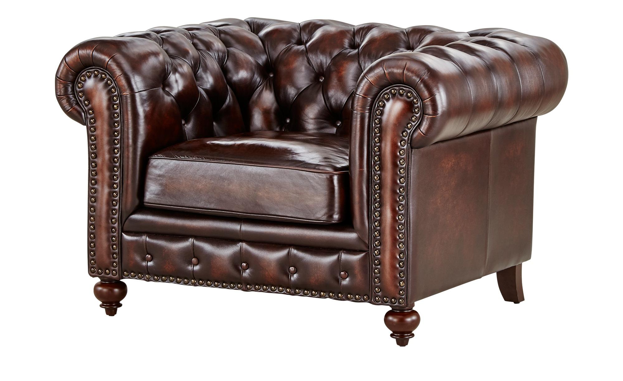 uno Sessel  Chesterfield ¦ braun Polstermöbel > Sessel > Ledersessel - Höff günstig online kaufen